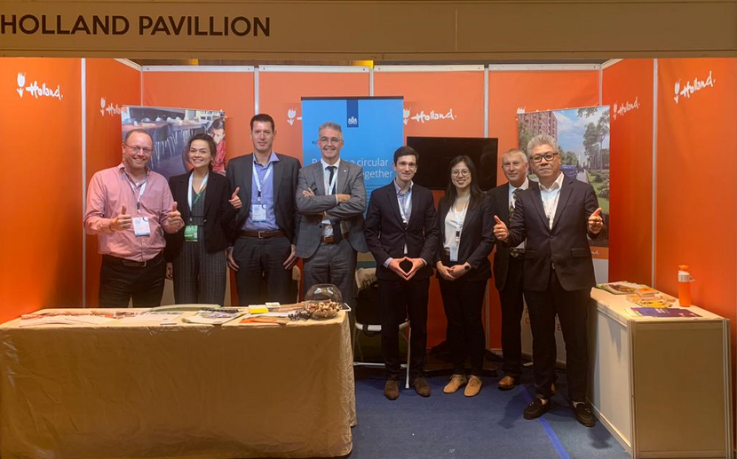 "Photo: the Holland Pavilion Booth at the 3rd Indonesian Circular Economy Forum; the ""PIB""  members, colleagues from the Embassy, and Rijkswaterstaat)"